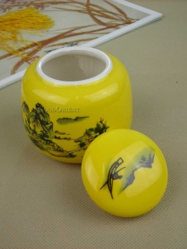 Taditional chinese landscape tea caddy