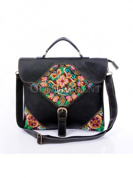 Traditional asian themed leather bag