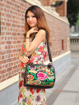 Attractive flower embroidery leather bag