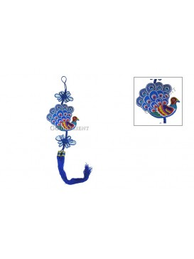 Colorized Embroidered  Hanging---Blue Peacock