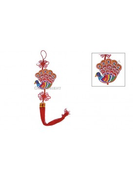 Colorized Embroidered  Hanging---Red Peacock