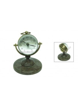 Crystal Hemispherical Brass Clock