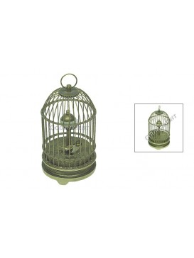 Antique Chinese Bird In Brass Cage Clock