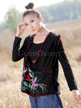 Chinese black ethnic bird pattern vest