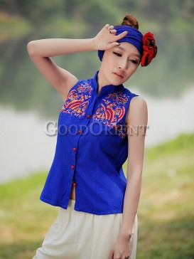 Classical blue peacock pattern vest