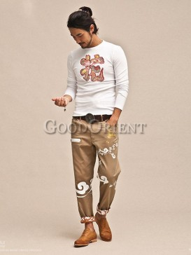 Fashionable floral pattern pants