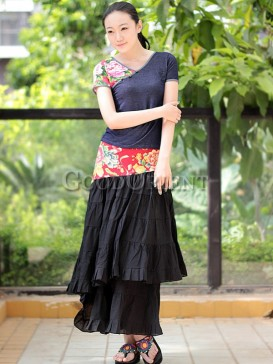 Nepal classical black long skirt