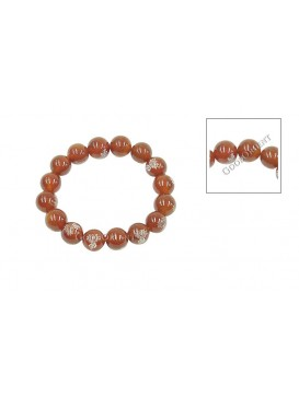 Character FO With Flowers Carnelian Bracelet---Red