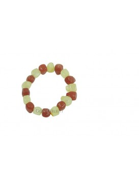 Alternate Yellow and Red Jade Bracelet
