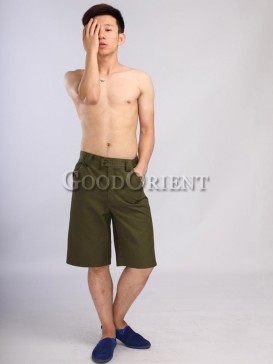 Delicate army green cotton pants