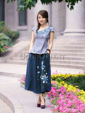 Classical dark blue hand-printed flower skirt
