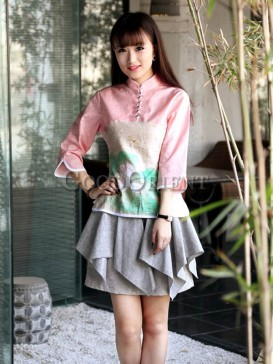 Attractive wrinkle design cotton skirt