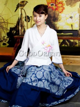 Excellent asian style floral pattern skirt