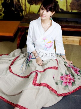 Stunning beige hand-printed rose pattern skirt