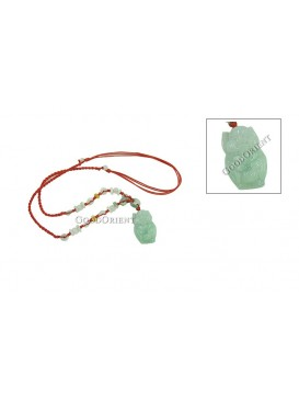Emerald Pig Necklace With Garnet Beads