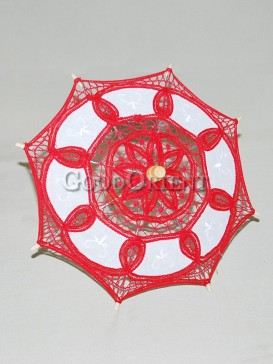 Asian style red lace umbrella