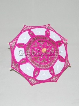 Asian style rose red lace umbrella