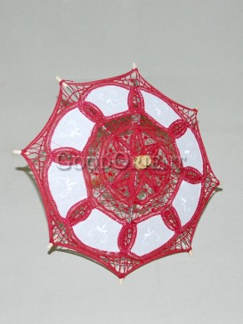Asian style wine red lace umbrella