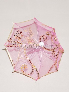Pink with sequin floral pattern umbrella