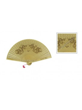 SHUANG LONG XI ZHU Sandalwood Fan