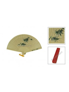 Bamboo Colorized Sandalwood Fan---Ramin wood