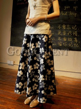 Retro floral pattern linen skirt