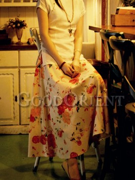 Stylish red rose pattern linen skirt