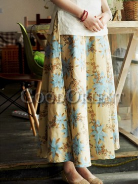 Gorgeous flower pattern linen skirt