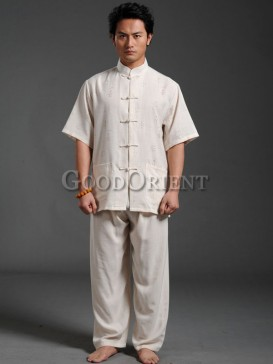 chinese style beige short sleeves matching set