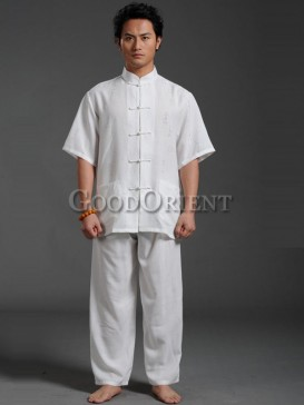 orient style white linen matching set