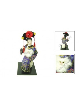 Sitting Qing Dynasty Beauty Doll---Hugging Cat