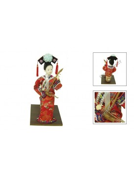 Sitting Qing Dynasty Beauty Doll---Playing the Er Hu
