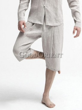 Fashionable pale grey linen pants
