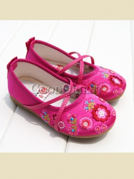 Rose red with embroidery floral pattern shoes