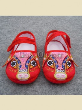 Cute embroidery pig pattern baby shoes