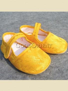 Bright yellow with dragon pattern baby shoes