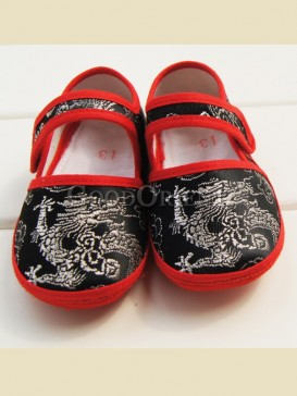 Black embroidery dragon pattern baby shoes