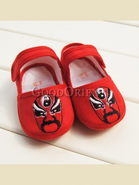 Chinese red with peking opera pattern baby shoes