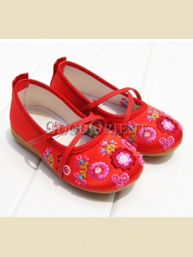 Red with floral pattern baby shoes