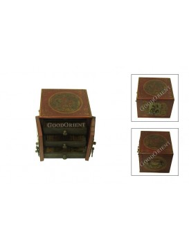 Red Foursquare Leather Jewelry Box---Three Layers