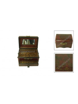 Red Foursquare Leather Jewelry Box---Two Layers