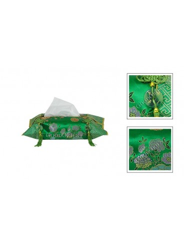 Green Peony Brocade Tissue Cover