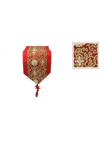 Red Floral Silk Table Runner