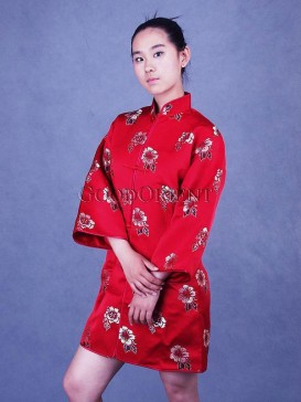 Red Peony Silk Brocade Jacket