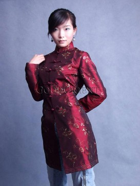 Embroidered Dark Red Thai Silk Coat
