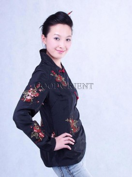 Black Embroidered Floral Thai Silk Jacket