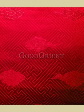 Chinese red check pattern brocade fabric
