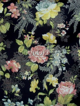 Classical black penoy pattern brocade fabric