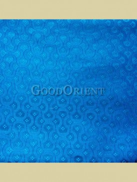 Bright blue chain floral pattern brocade fabric