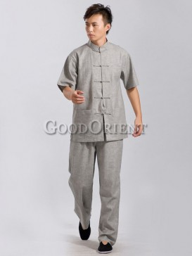 Light grey linen chinese kungfu suit